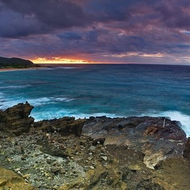 Sunrise from Blowhole Lookout, Oahu, Hi.