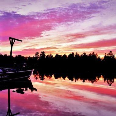 Rainy Lake Sunset at the back dock