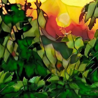 Hand painted stained glass effect on digital photo of grape vines at sunrise.