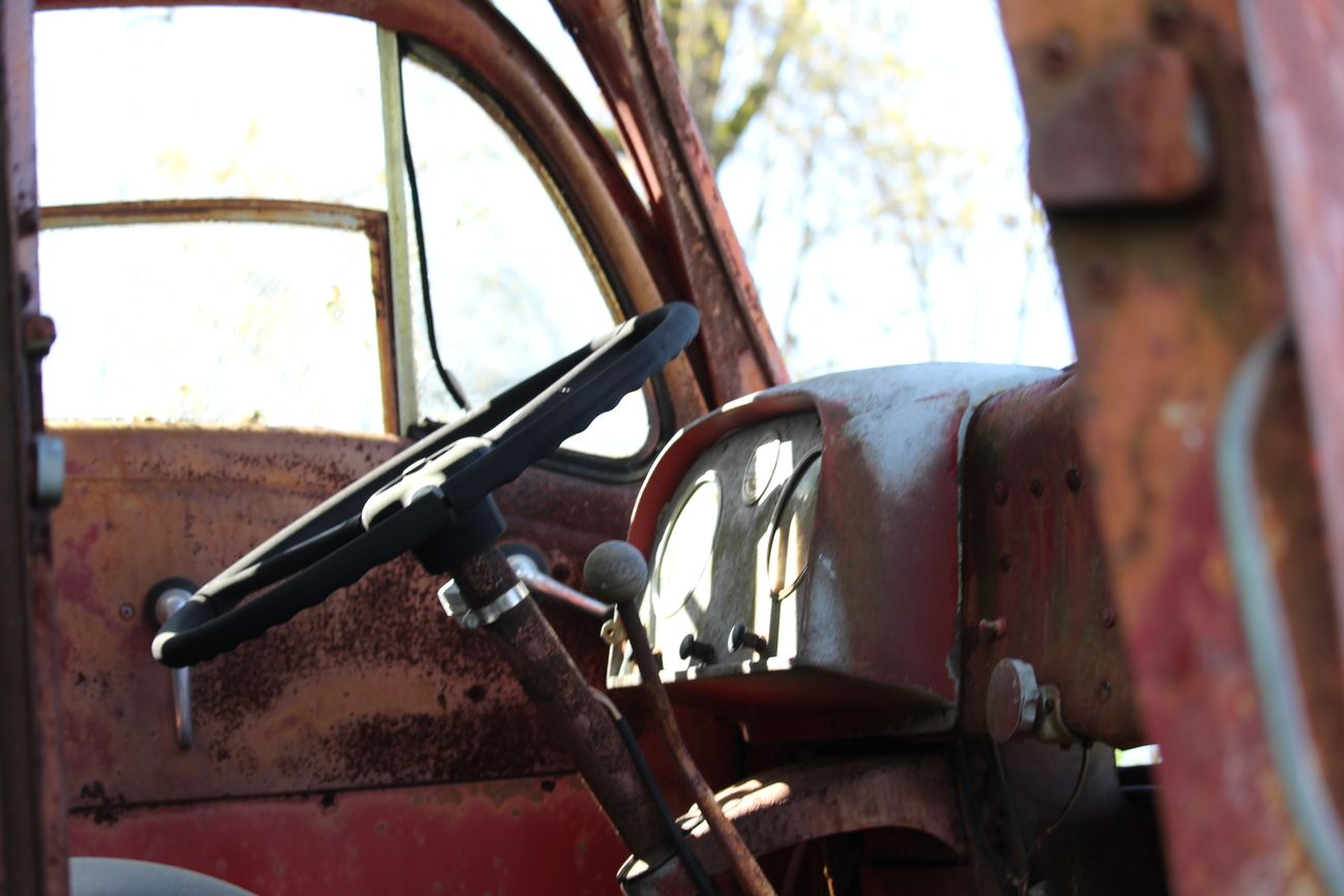 An old transport truck cab, left to sit and deteriorate....A part of civilizations history.