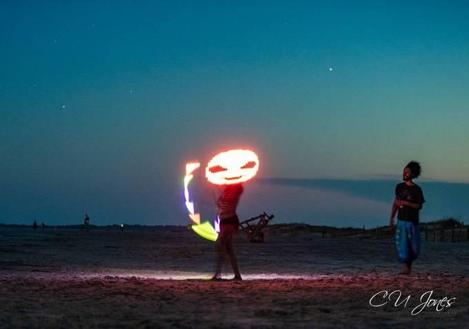 Full Moon Drum circle performers on Folly Beach, SC