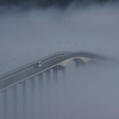 The bridge in my hometown on a day with that extra fog.