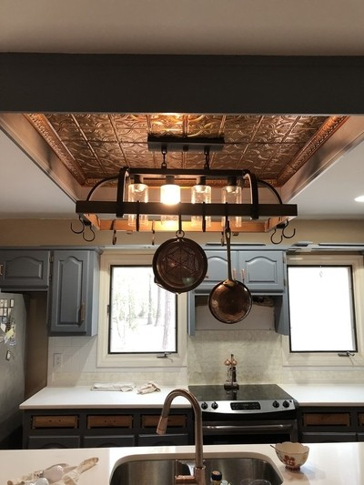 Installing Copper Ceiling Tiles and Copper Crown Molding, Light Fixture for hanging Copper Pots