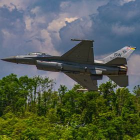 The General Dynamics F-16 Fighting Falcon starting off its show with full afterburner during the Westmoreland County Airshow in Latrobe, Pennsylvania.