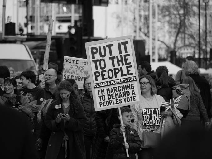 A family on the March, at the march for a Peoples Vote on a Brexit Deal. In March 2019.