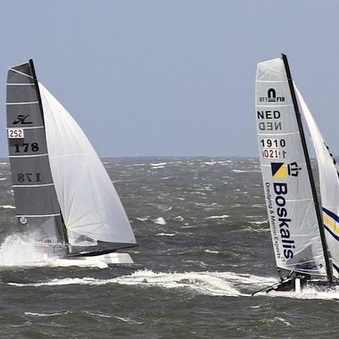 Catamaran race around the isle of Texel, Holland