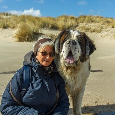 My wife and our Saint Bernard at the beach of Texel, Holland