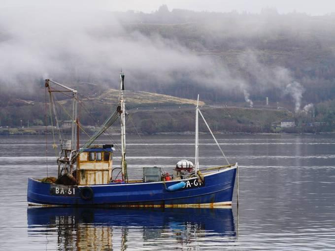 Trawler at anchor on Loch Long at Ardentinny