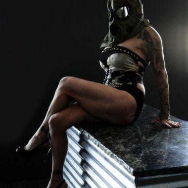 Jenny Modeling a Gas Mask