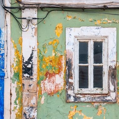 Different colors showing different stages of time of this building in Castro Marim, Portugal