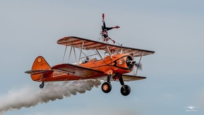The AeroSuperBatics Wingwalkers thrilled the crowd at Duxford Air Festival 25-5-19