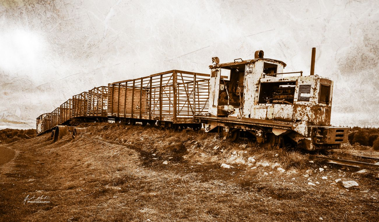 An old train used to transport peat from the bog