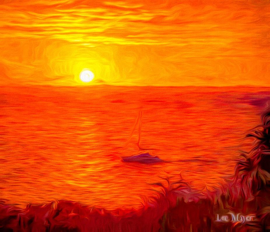 A yacht Sunset