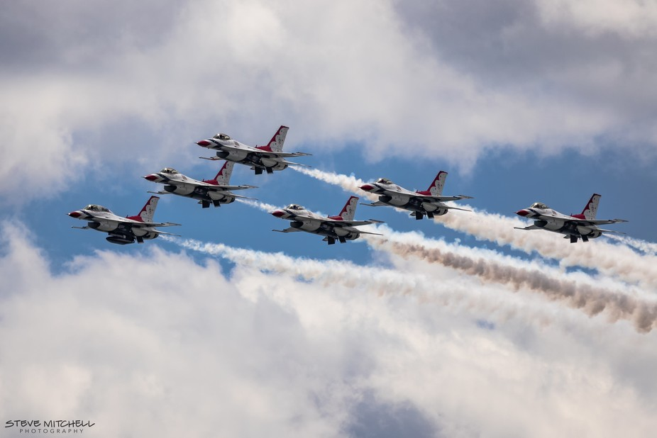 US Air Force Thunderbirds in formation over Jones Beach, Memorial Day Weekend, Long Island, NY.