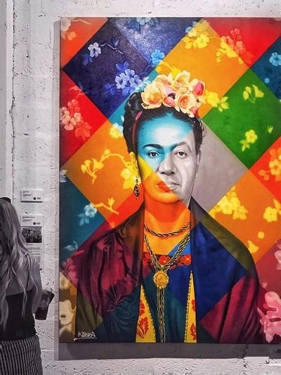 A Portrait of Frida by Eduardo Kobra, at the Global Arts Gallery, Miami Beach, Fla.