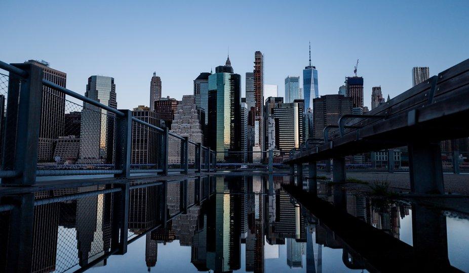 A 5:30am shot of Manhattan taken from Brooklyn Bridge Park, Brooklyn.