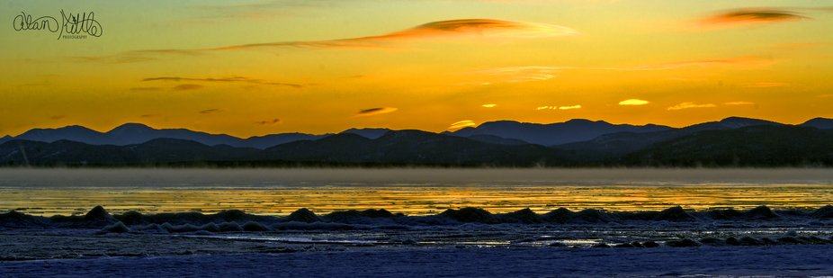 I took this photo of Lake Champlain and the New York mountains to the west from Leddy Park in Bur...