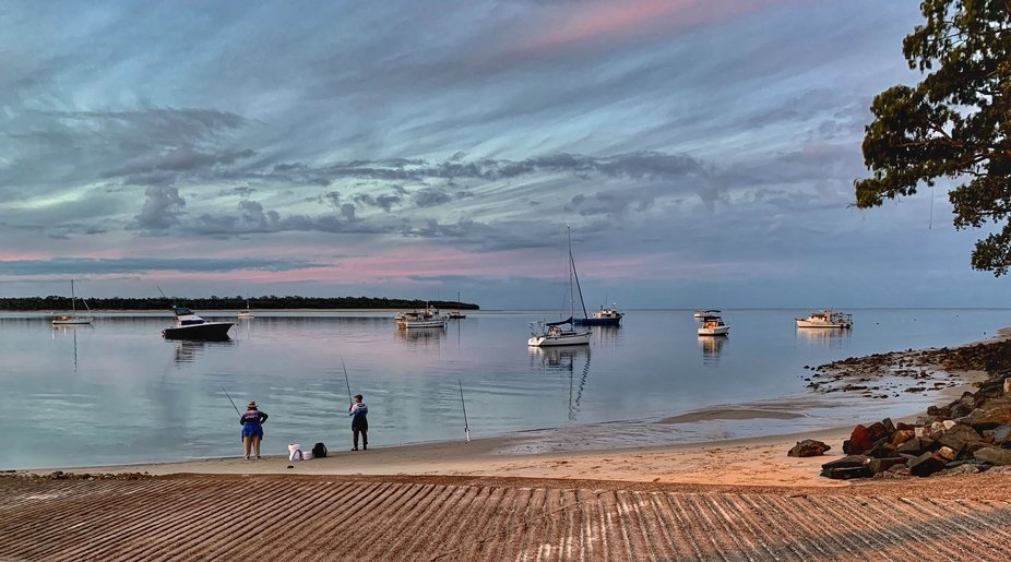 Early morning fishing from the boat ramp at Burrum Heads