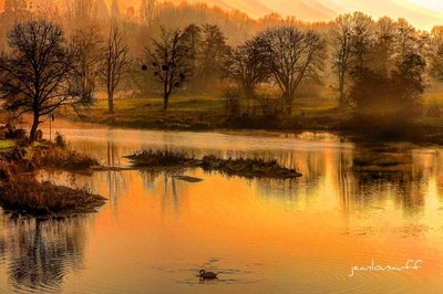 France . Decize . Sunrise on the Old Loire