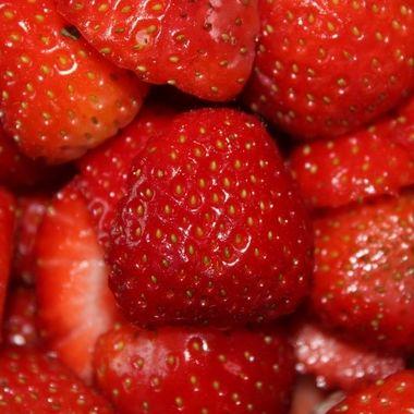 Closeup of strawberries taken before baking cakes