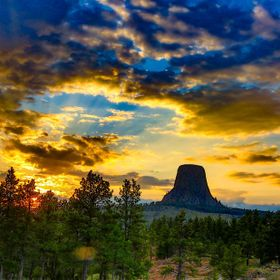 An amazing sunset captured at Devil's Tower, Wyoming.