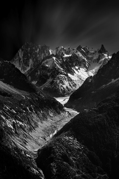 The Mer de Glace in the Mont Blanc massif in B-W.
