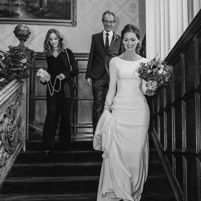 Beautiful Laura on her way to her wedding ceremony, on the staircase @warren