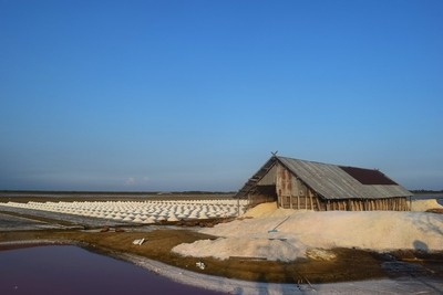 Sea salt barn in countryside of Thailand