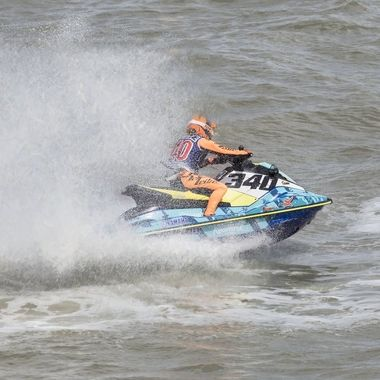 The Jet Skis are very powerful and the competitors at the AquaX Championships were not afraid to use the power.