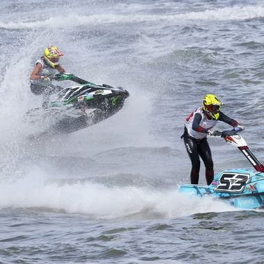 It is not unusual in wave conditions for jet skiers to take to the skies..