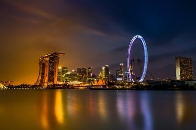 Golden Blue hour of Singapore city
