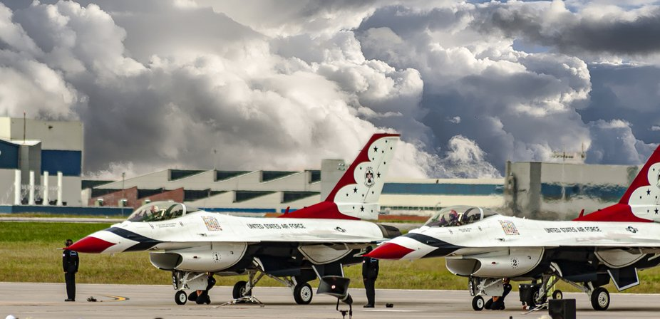 Photo of Thunderbird's at Air Show waiting to see if ceiling was good enough for the sho...