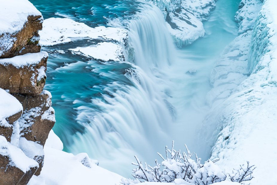 Long exposure of the magnificent Gullfoss waterfall. It produces a massive amount of spray that e...