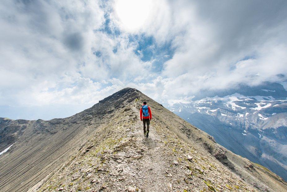 Selfie on ridge in Swiss Alps