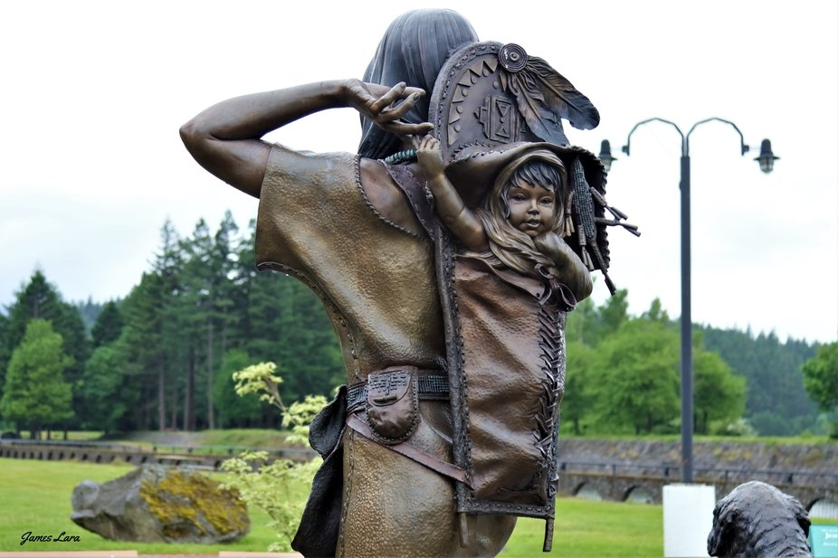 This bronze sculpture is a memory to the Shoshone woman interpreter Sacajawea and her son John Ba...