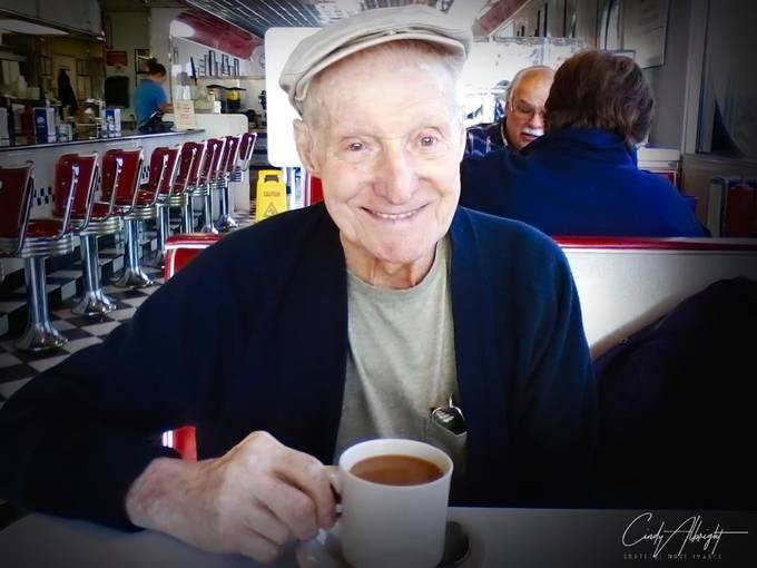 My Daddy.  Always a character. How he loved to give waitresses a hard time, and get them flustered!  I love this photo of him at a local diner.  It's the perfect capture of who he was.