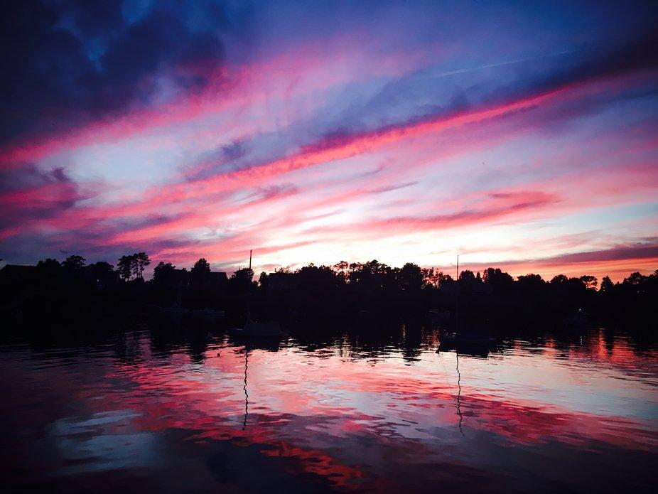 Pink and purple night sky