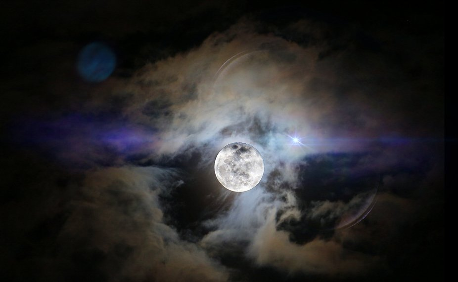 Moon taken from my porch in Tamparuli, Sabah - Malaysia  Double Exposure for Moon and Clouds sepa...
