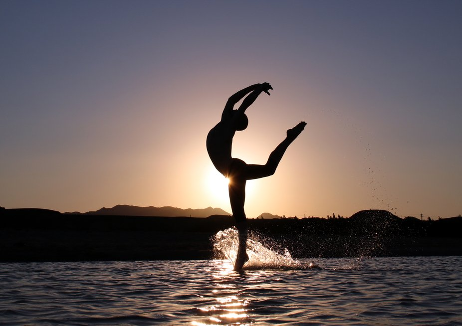 Sunset in Egypt, sitting in the water to capture Luiz jump.
