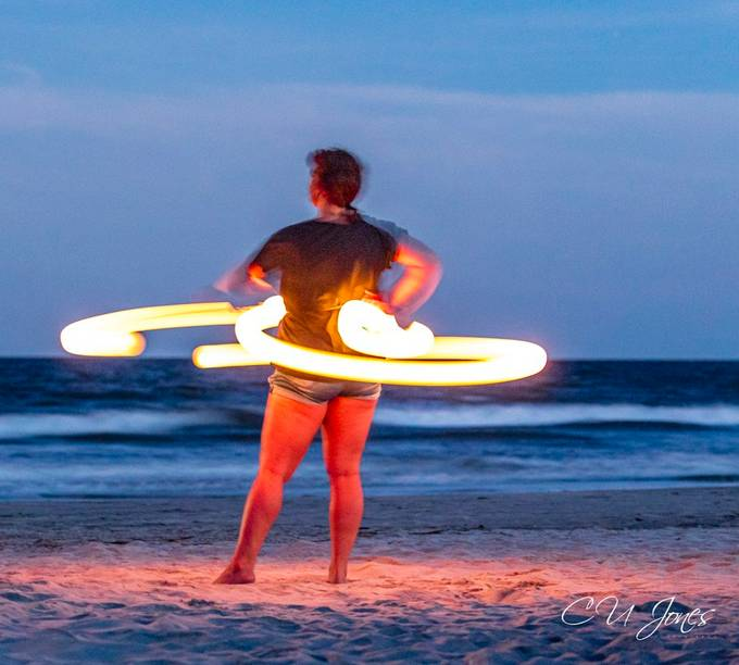 Every full moon there's a full moon drum circle on Folly Beach. Besides drummers we also get entertained by some talented people spinning light and fire