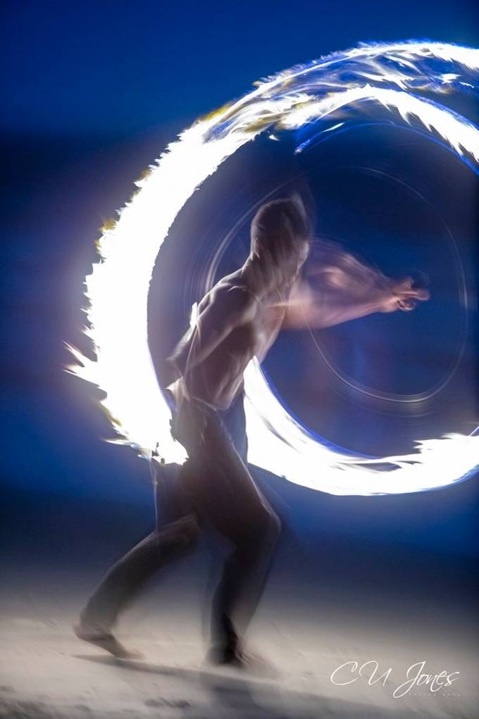 Every full moon on Folly Beach there is a full moon drum circle and besides the drummers we get entertained by some talented young ladies and gentlemen with fire and light dancers
