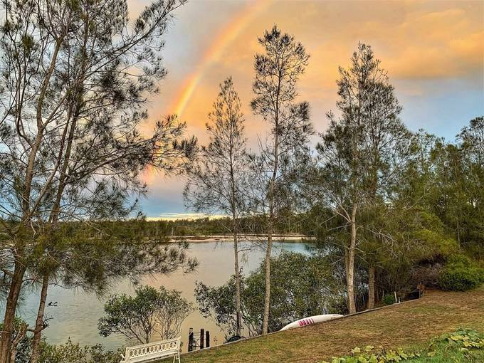 This rainbow appeared over the lake just after the sun had risen