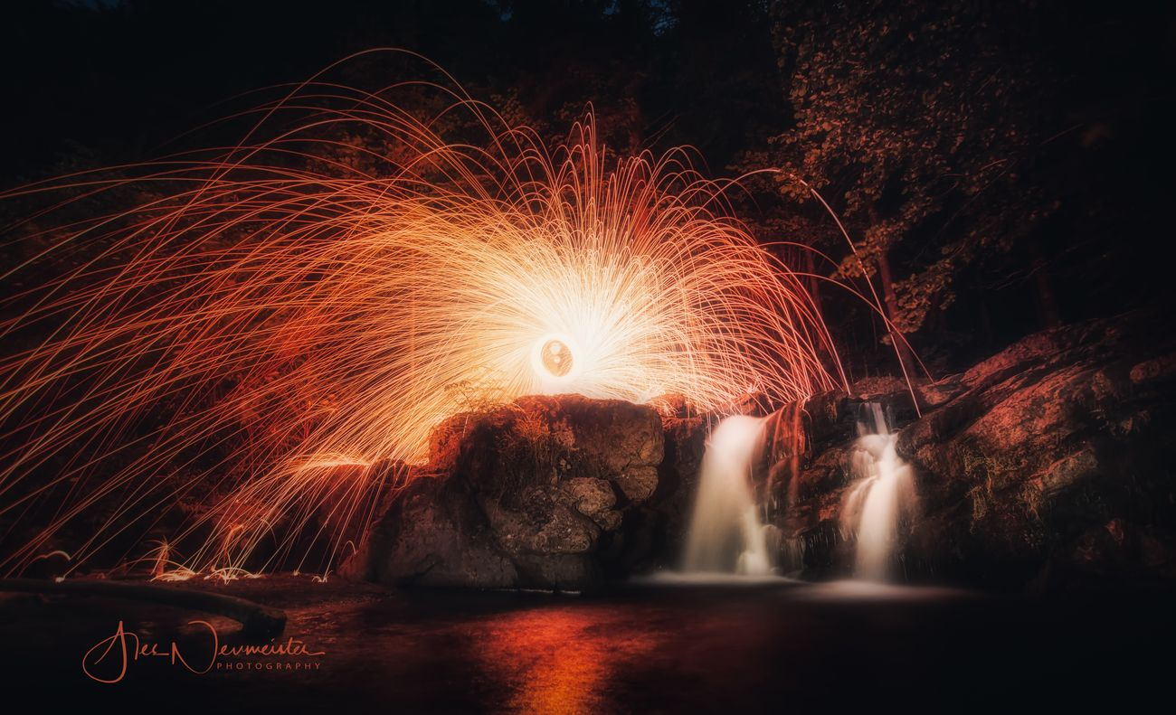 Burning waterfall