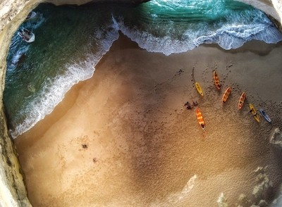 Aerial view of Benagil sea cave in Algarve Portugal view from above