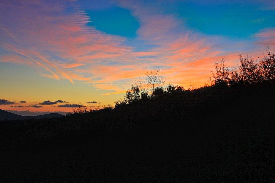 Sunrise over the Blue Ridge Mountains in Virginia.
