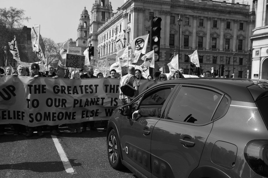 Extinction Rebellion close the roads into Parliament Square during the International Rebellion on...