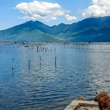 An oyster farm in Vietnam. This image captures the tranquillity and beauty of the surrounding area.