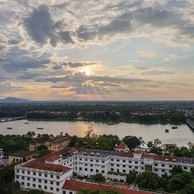 One of the magnificent views from the top of a hotel as the sun set in Hue, Vietnam.