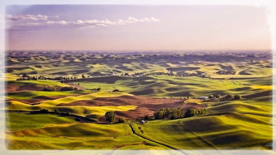 A very windy and hazy day in the Palouse of eastern Washington. This image was taken from Steptoe Butte. The image has been textured to give a painterly look...