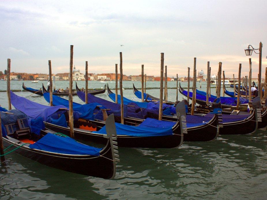 Gondolas moored up in Venice.